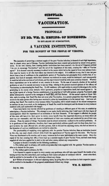 Wiliam H. Hening, July 24, 1822, Printed Circular on Virginia Vaccination Proposal