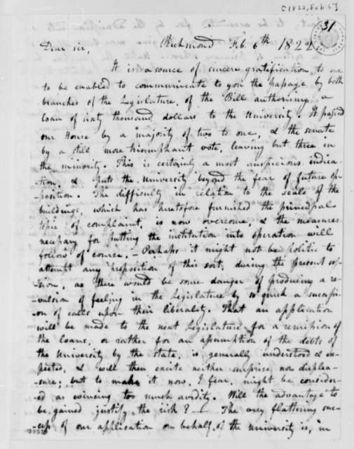 William Cabell Rives to Thomas Jefferson, February 6, 1822, with Payment Resolution Dated February 3
