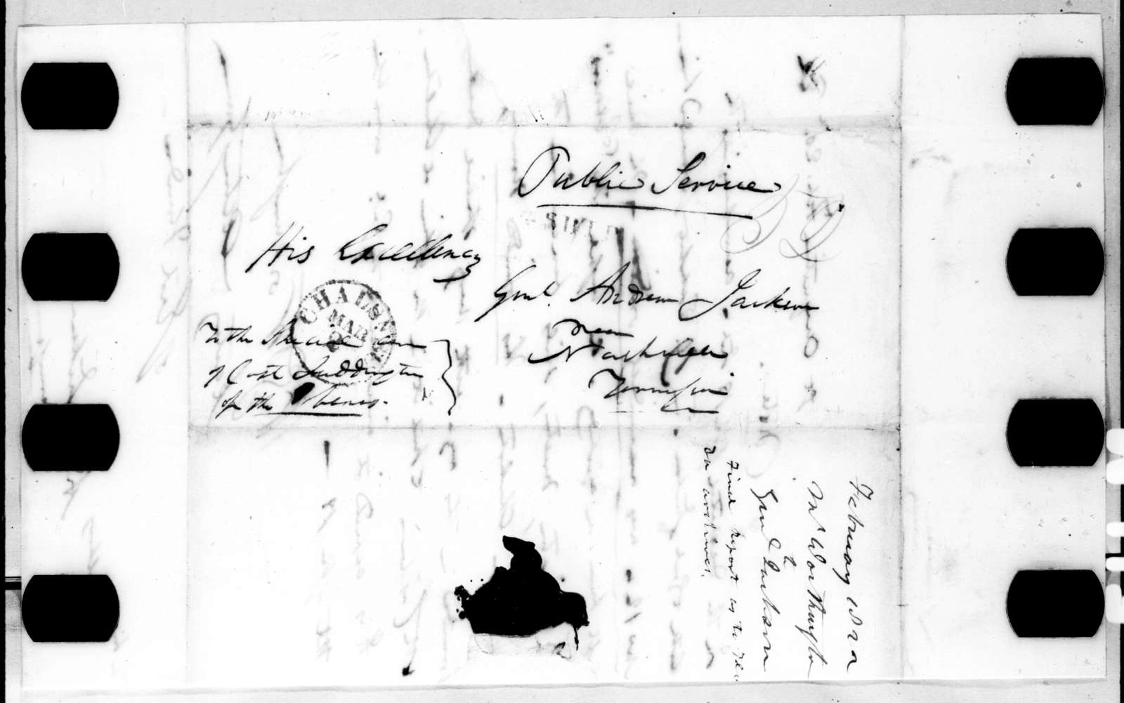 William Grafton Dulany Worthington to Andrew Jackson, February 20, 1822