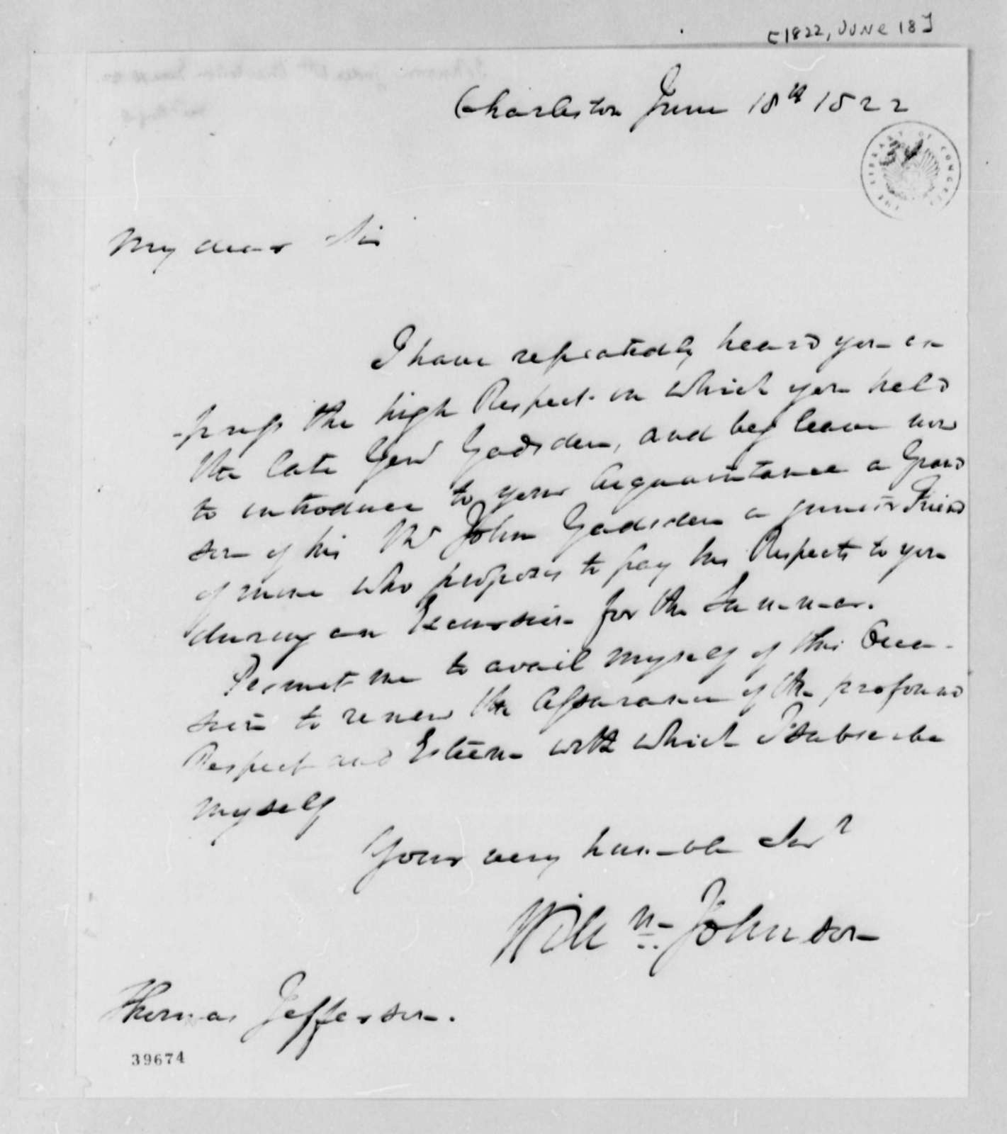 William Johnson to Thomas Jefferson, June 18, 1822