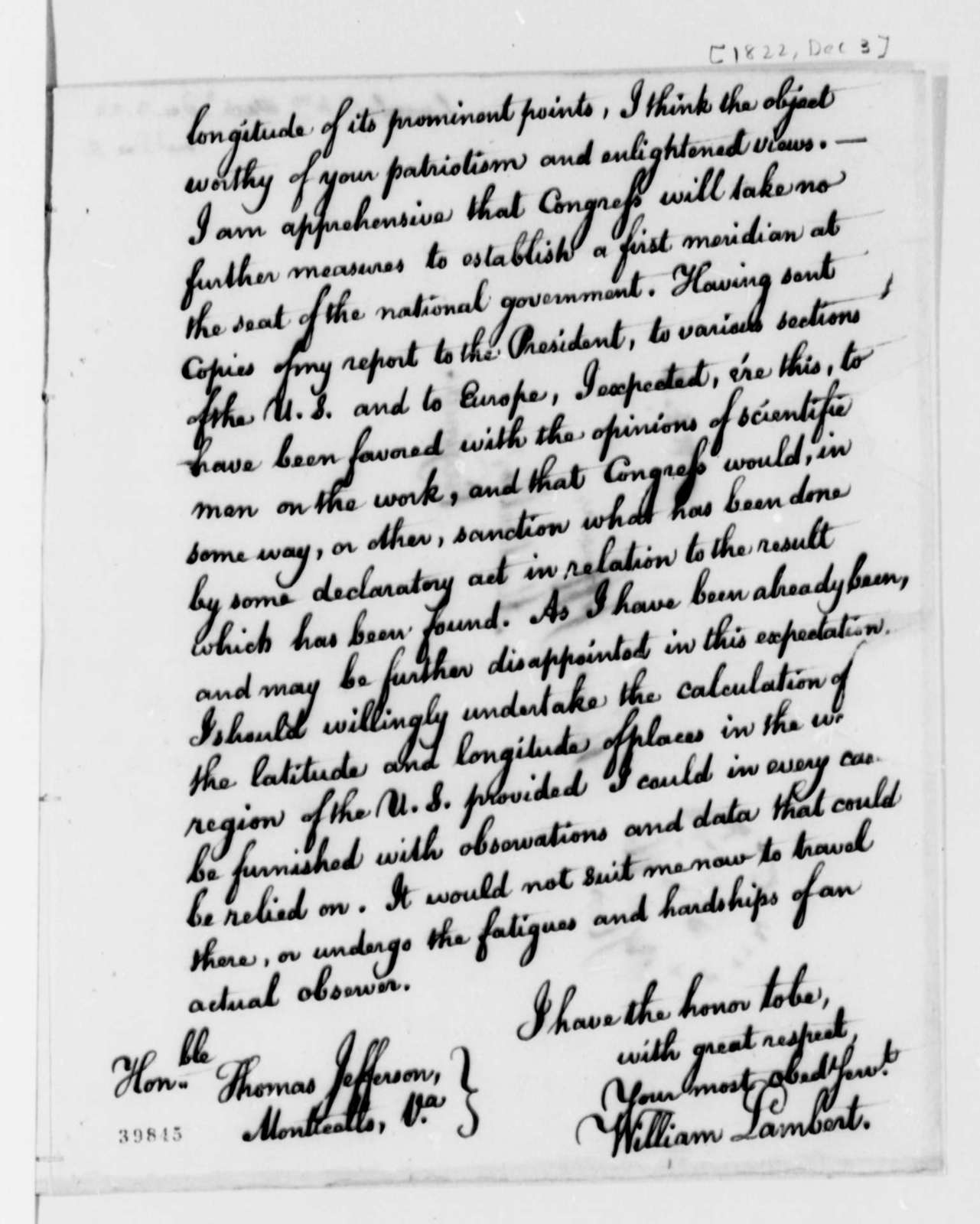 William Lambert to Thomas Jefferson, December 3, 1822