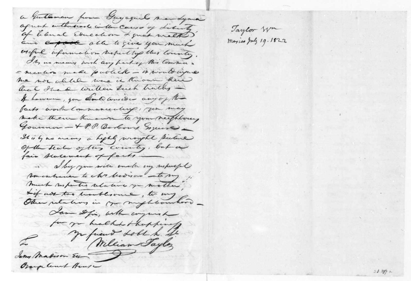 William Taylor to James Madison, July 19, 1822.