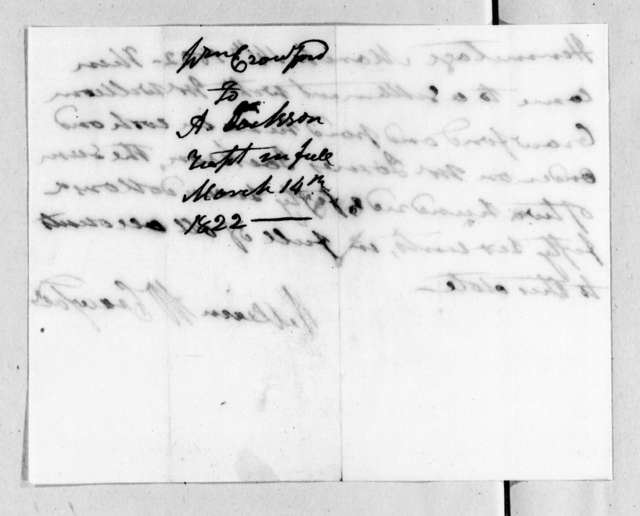 William White Crawford to Andrew Jackson, March 14, 1822