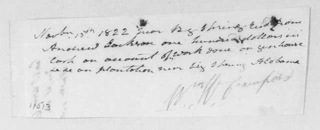 William White Crawford to Andrew Jackson, November 15, 1822