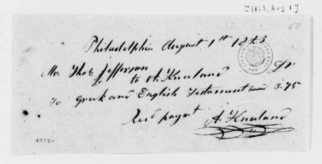 A. Kneeland to Thomas Jefferson, August 1, 1823, Receipt