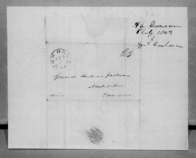 Abner Lawson Duncan to Andrew Jackson, July 6, 1823