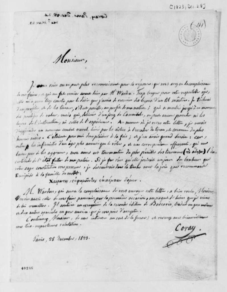 Adamantios Coray to Thomas Jefferson, December 28, 1823