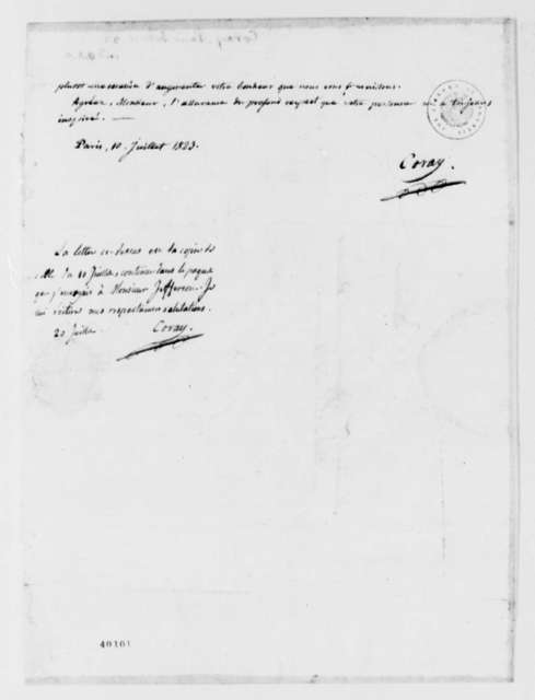 Adamantios Coray to Thomas Jefferson, July 10, 1823, in French, with Copy