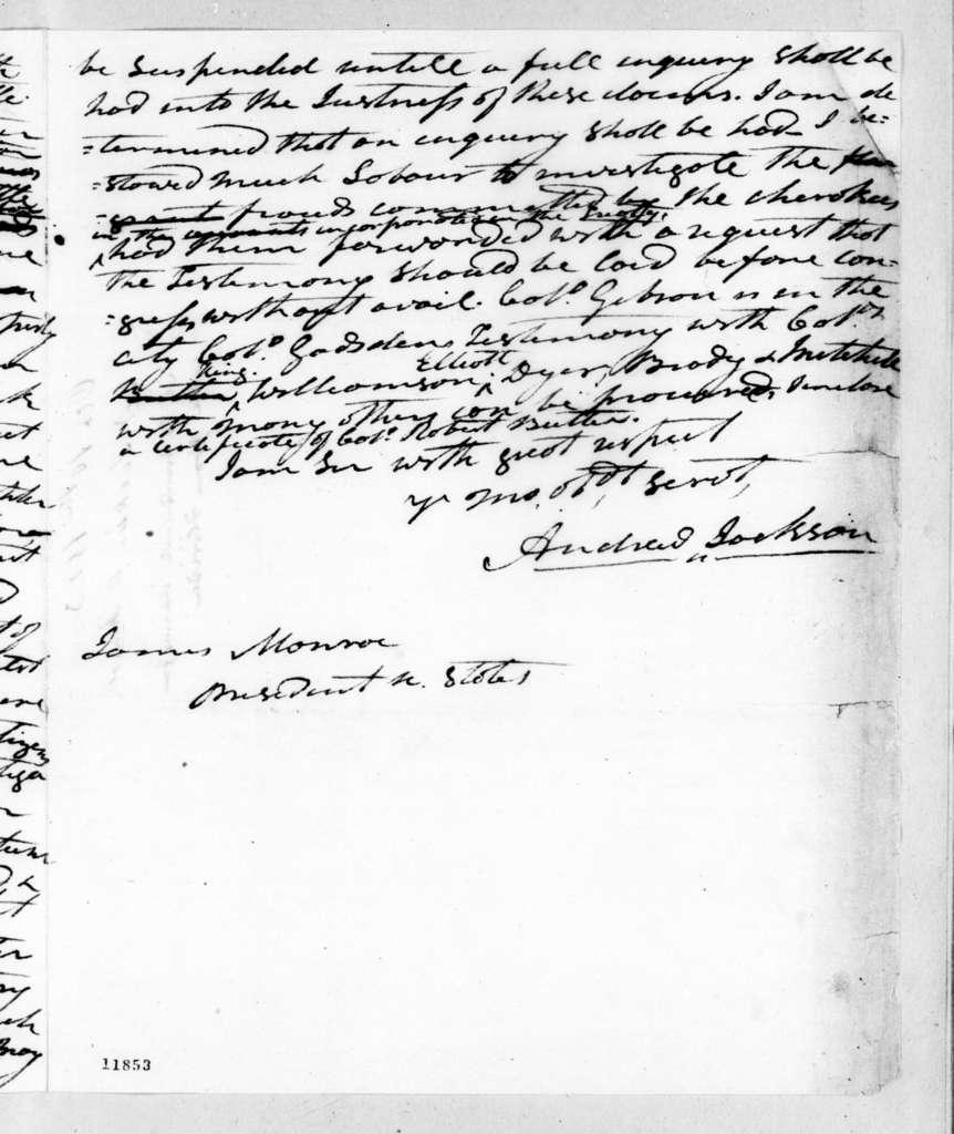 Andrew Jackson to James Monroe, October 10, 1823