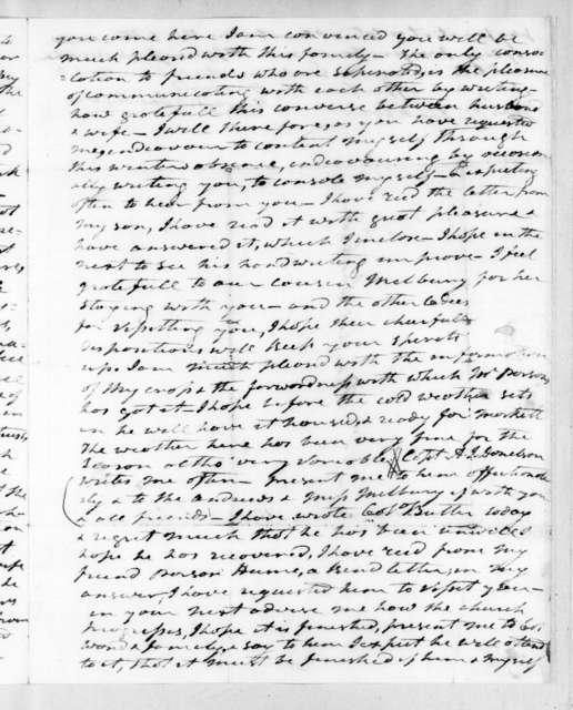 Andrew Jackson to Rachel Donelson Jackson, December 21, 1823