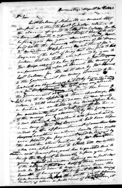 Andrew Jackson to Unknown, August 31, 1823