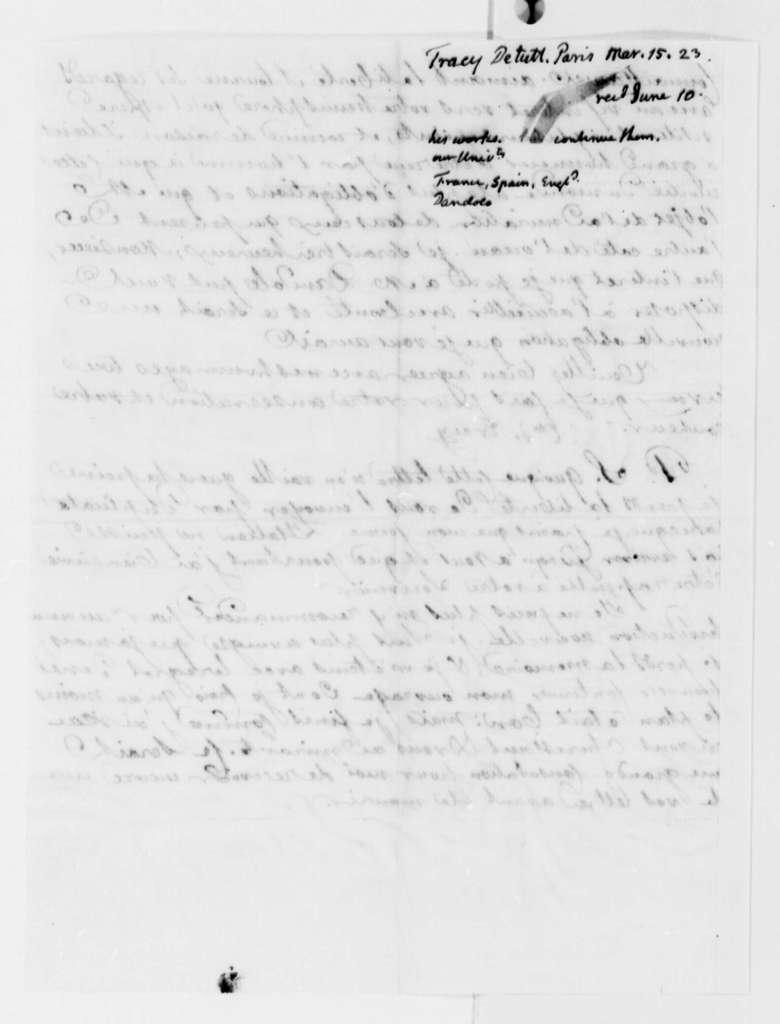 Antoine Louis Claude Destutt de Tracy to Thomas Jefferson, March 15, 1823, in French