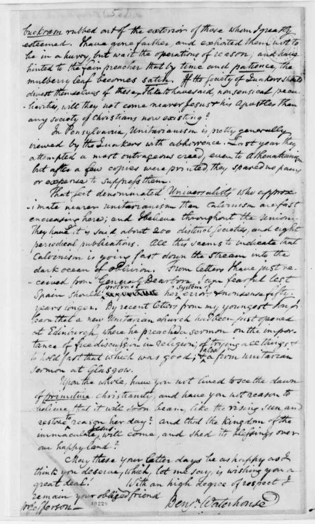 Benjamin Waterhouse to Thomas Jefferson, November 30, 1823