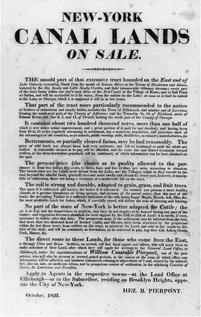 [Broadside]: New-York Canal Lands on Sale. ... Hez. B. Pierpont, October 1823
