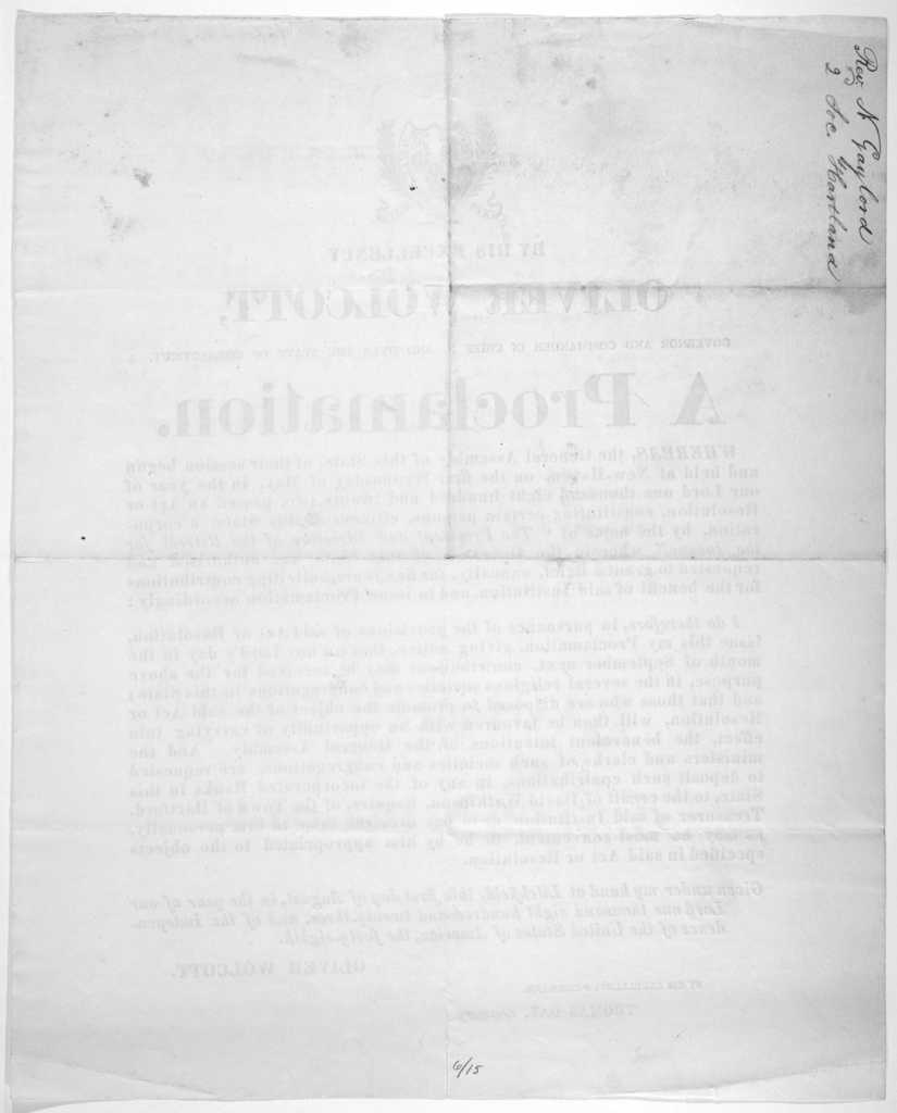By His Excellency Oliver Wolcott, Governor and commander in chief in and over the state of Connecticut. A proclamation [Regarding contributions on any Lord's day in the month of September next for the President and directors of the retreat for t