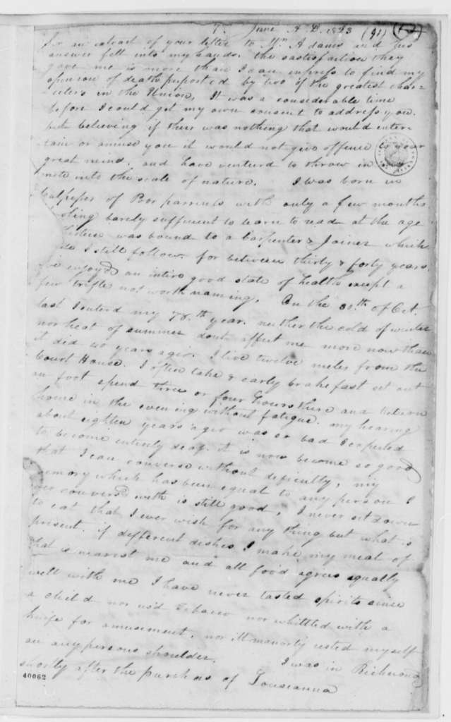 Charles Bruce to Thomas Jefferson, June 7, 1823, with Printed Circular on Bruce's Character and Note