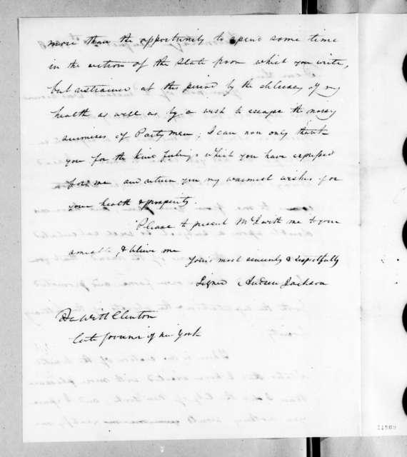 DeWitt Clinton to Andrew Jackson, August 31, 1823