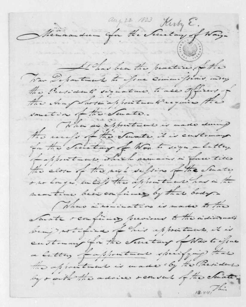 E. Kirby to John C. Calhoun, August 22, 1823.