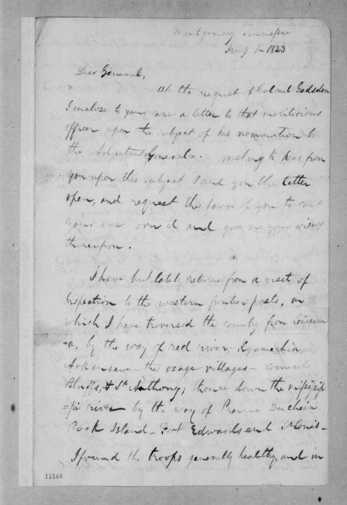 Edmund Pendleton Gaines to Andrew Jackson, January 1, 1823