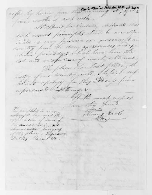 Elias Earle to Thomas Jefferson, August 28, 1823