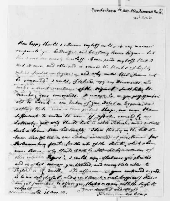 Francis A. van der Kemp to Thomas Jefferson, November 16, 1823