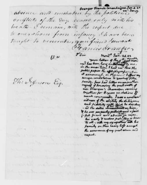 Francis Granger to Thomas Jefferson, January 1823