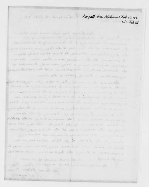 George Loyall to Thomas Jefferson, February 13, 1823