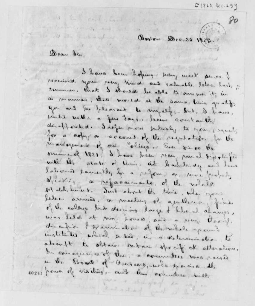 George Ticknor to Thomas Jefferson, December 25, 1823