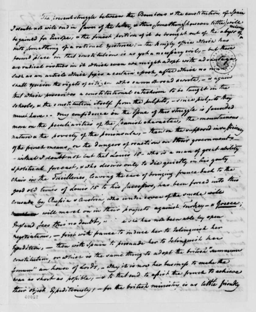George W. Erving to Thomas Jefferson, May 9, 1823