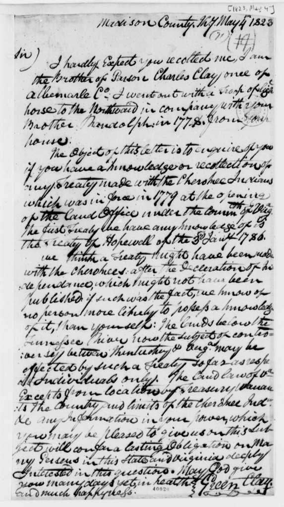 Green Clay to Thomas Jefferson, May 4, 1823