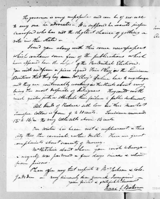 Isaac Lewis Baker to Andrew Jackson, February 14, 1823