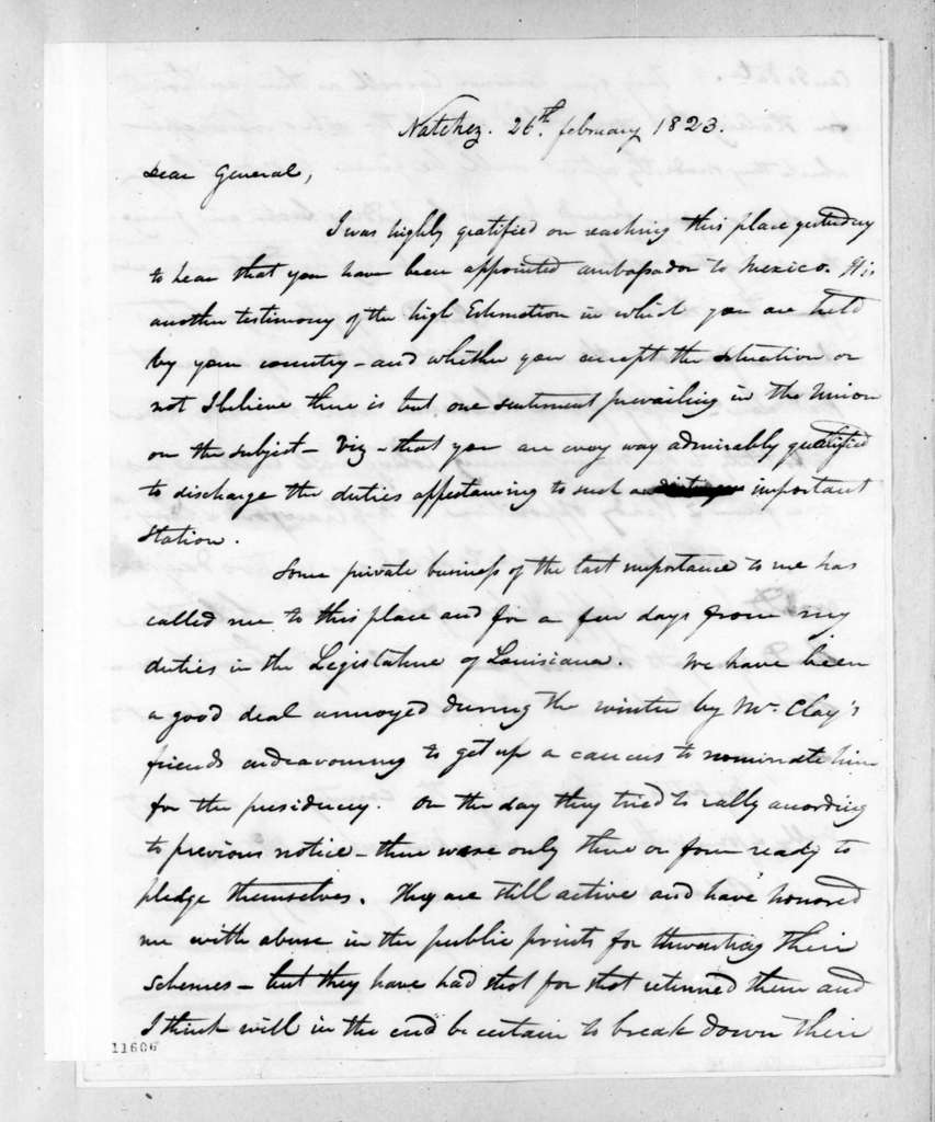 Isaac Lewis Baker to Andrew Jackson, February 26, 1823