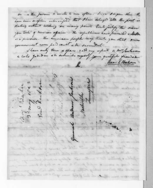 Isaac Lewis Baker to Andrew Jackson, May 3, 1823