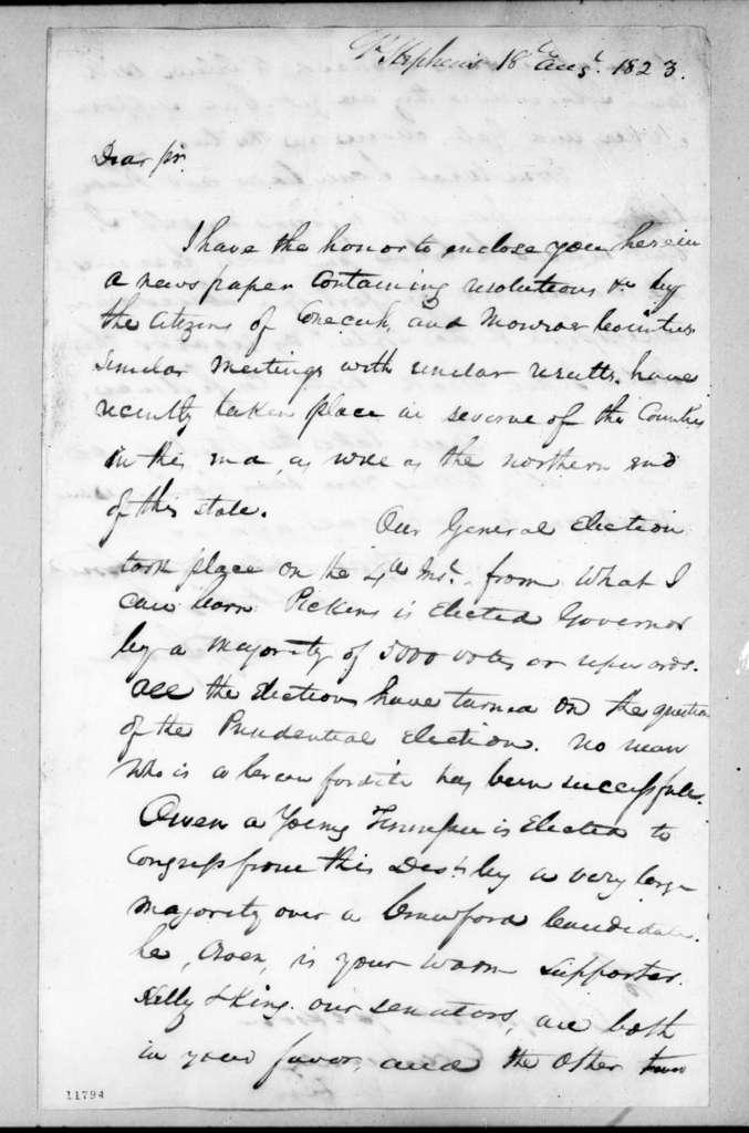 James G. Lyon to Andrew Jackson, August 18, 1823