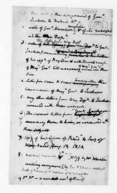 James Madison. List of communications regarding the assignments of General Andrew Jackson. 1823.