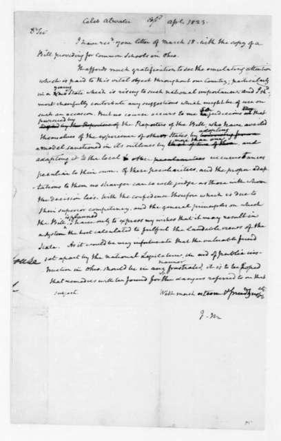 James Madison to Caleb Atwater, April, 1823.