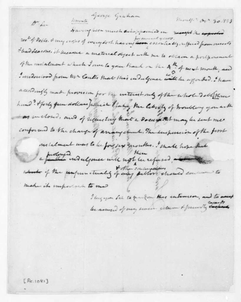 James Madison to George Graham, October 30, 1823.