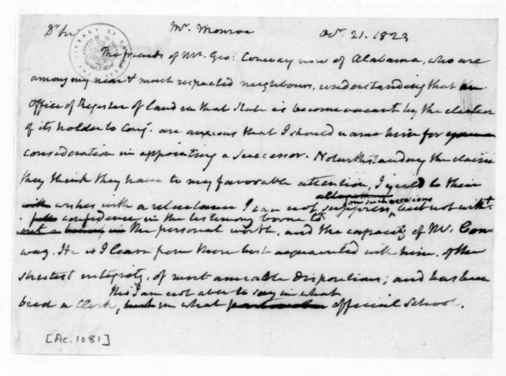 James Madison to James Monroe, October 21, 1823.