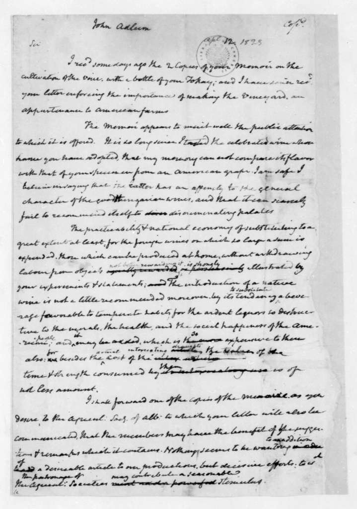 James Madison to John Adlum, April 12, 1823.
