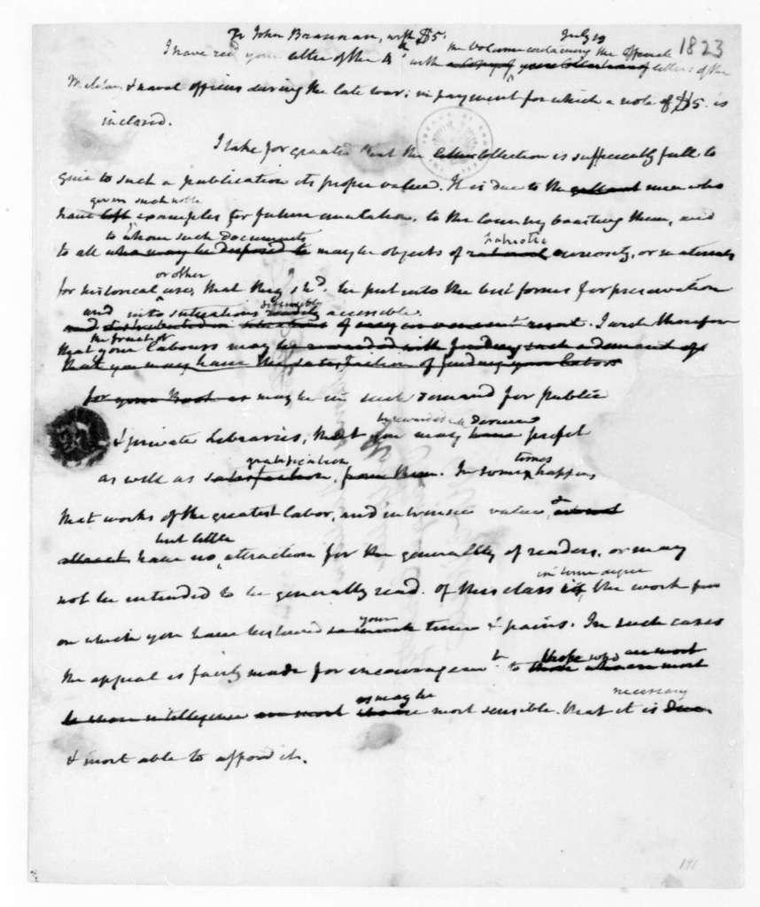 James Madison to John Brannan, July 19, 1823.