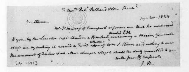 James Madison to Robert Pollard & Son, September 20, 1823.