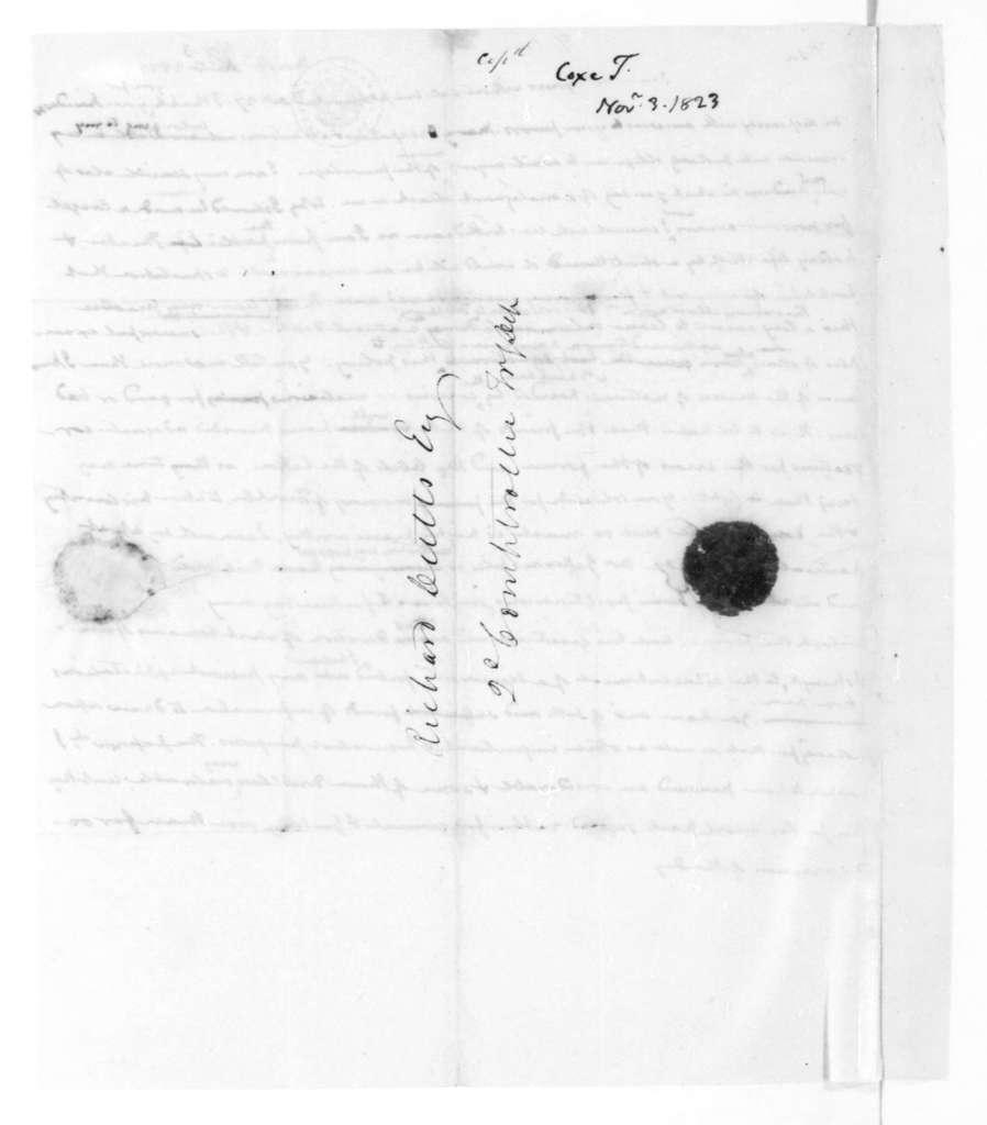 James Madison to Tench Coxe, November 3, 1823.