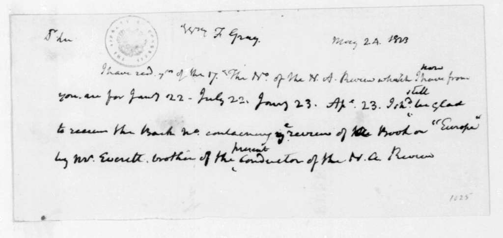 James Madison to William F. Gray, May 24, 1823.