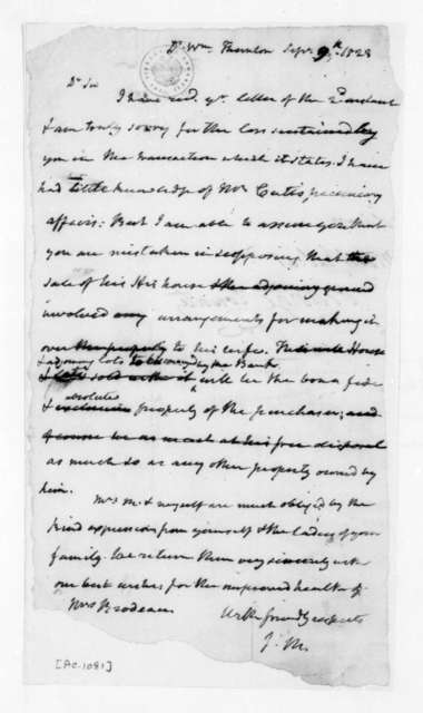 James Madison to William Thornton, September 9, 1823.