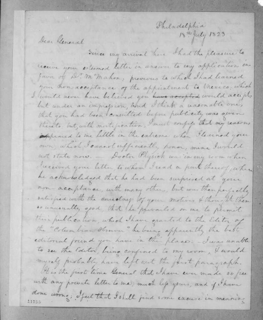 James McMillan Glassell to Andrew Jackson, July 18, 1823