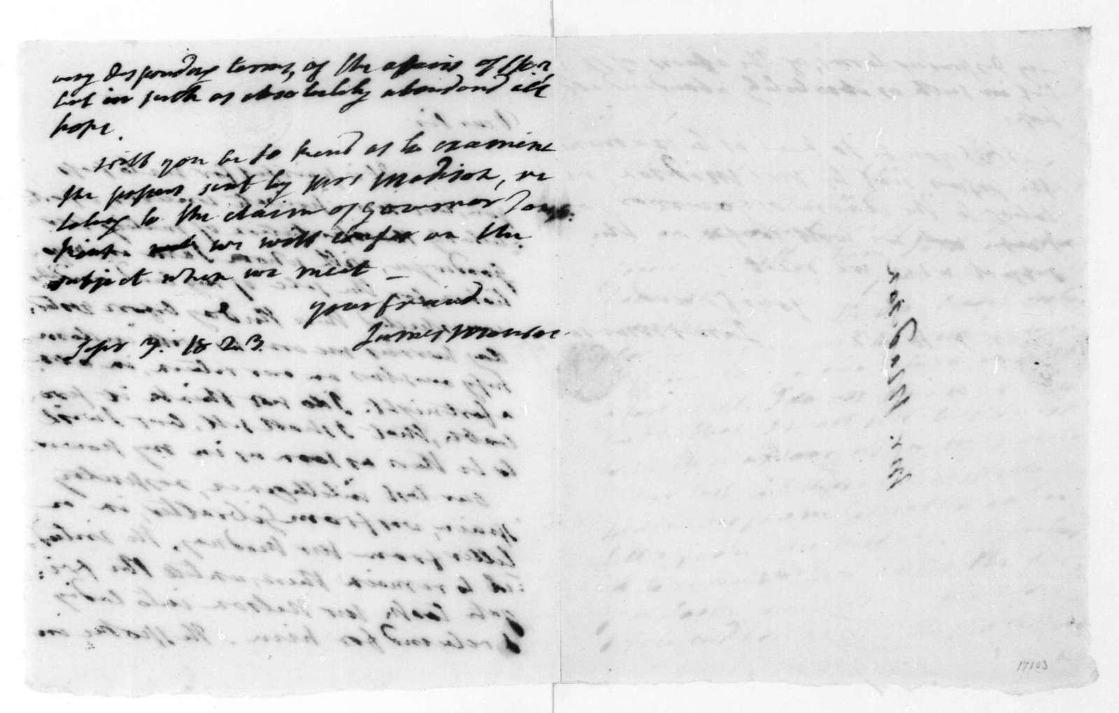 James Monroe to James Madison, September 3, 1823.