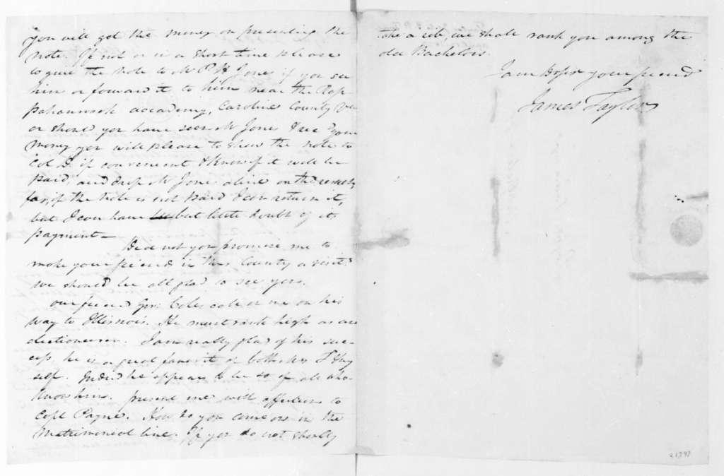 James Taylor to J. Payne Todd, April 12, 1823.