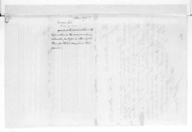 Jedidiah Morse to James Madison, March 14, 1823. Circular with James Madison's Answers to questions regarding slavery, March 1823.