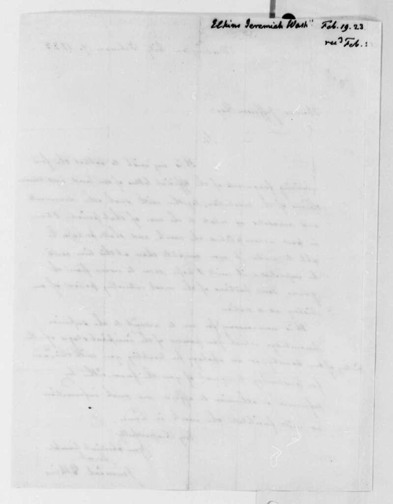Jeremiah Elkins to Thomas Jefferson, February 19, 1823