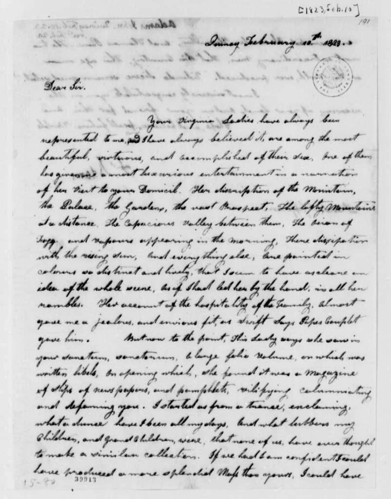 John Adams to Thomas Jefferson, February 10, 1823